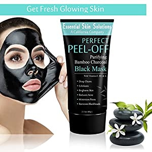 Black Charcoal Face Mask - Peel Off Exfoliating Facial Mask - Purifying Pore Minimizer - Brightening Blackhead Remover - Bamboo Detox for Smooth Clear Skin - Helps Reduce Acne & Dark Spots