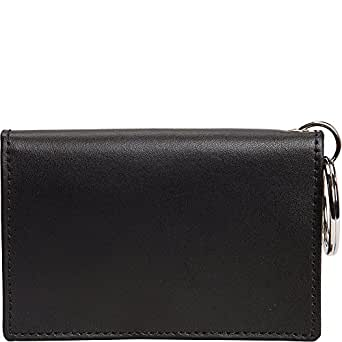 Colored Leather ID/ Key Chain Wallet Color: Black