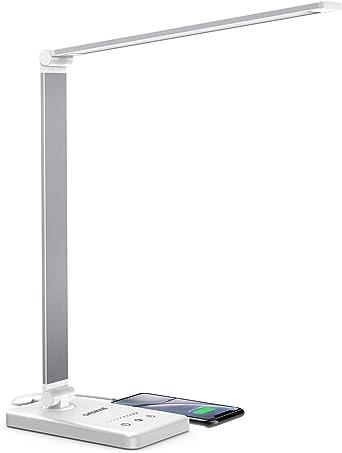 Chesbung Lampada Da Scrivania Led Lampada Da Tavolo 5 Modalita Colore 10 Luminosita Dimmerabili Funzione Di Cronometraggio Tocco Controllo Ricarica Usb Per Smartphone Bianco Amazon It Illuminazione