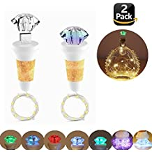 Wine Bottle Cork Lights USB Rechargeable , 7 Colors LED Diamond Copper Wire String Lights for Christmas Halloween Wedding DIY Party Decor(2 packs)
