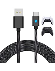 10FT Charging Cable for PS5 DualSense Controller, for Xbox Series X/S, for Switch Pro Controller and Phone, MENEEA Fast Charger Cord Nylon Braided Type-C Ports Replacement with LED Indicator,Only charger