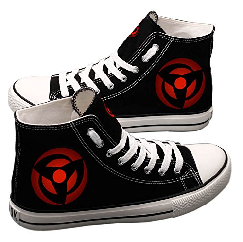 (E_LOV Naruto Anime Sharingan Logo Hand-Painted Canvas Shoes High Top Sneakers Anime Painted Cosplay Shoes for Women and Men Black)