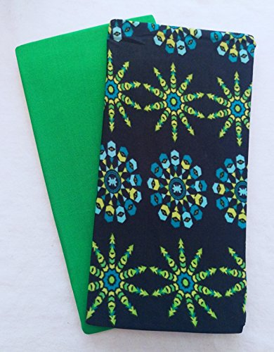 Set of 2 Jumbo Stretchable Fabric Book Covers (Intricate Green)