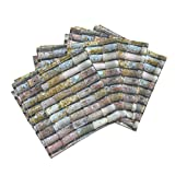 Moss Spain Italy France Lines Grid Rainbow Linen Cotton Dinner Napkins Roof Tiles Of Assisi 1A by Muhlenkott Set of 4 Dinner Napkins