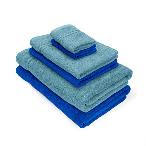 Swiss Republic Towels Set- Essential Plus collection made with 100% ring spun extra soft cotton with quick dry and double stitch line for extra long durability – set of 6 towels with 2 YEARS replacement GUARANTEE.