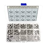 HVAZI M2 M2.5 M3 M4 M5 Stainless Steel Phillips Pan Head Screws Combine with Spring Washer and Plain Washers Nuts Assortment Kit