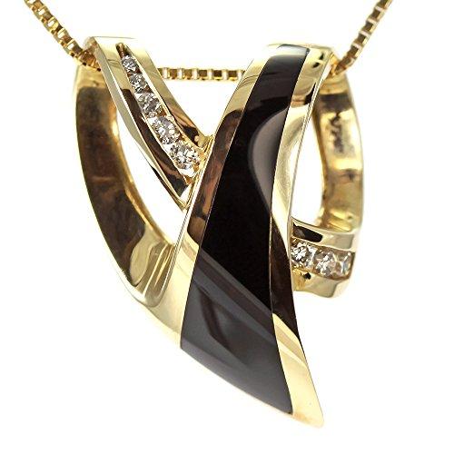 Yellow Gold Black Onyx Slide - 1
