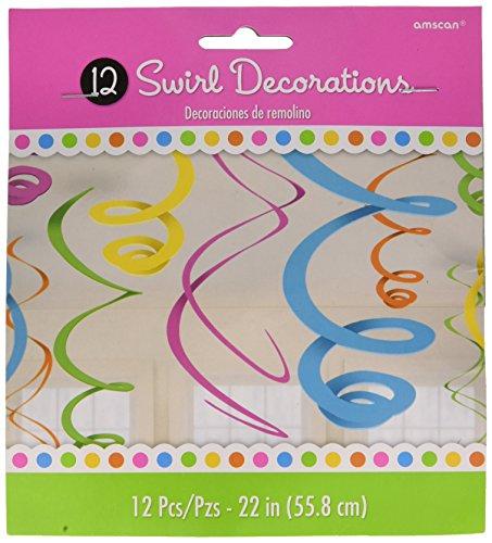 Amscan multi colored Plastic Swirls | Party Decoration, 12 Pks. ()
