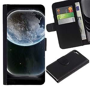 """Apple iPhone 5 / iPhone 5S , la tarjeta de Crédito Slots PU Funda de cuero Monedero caso cubierta de piel ("""" Earth Spaceship Window View Art Blue Planet"""")"""
