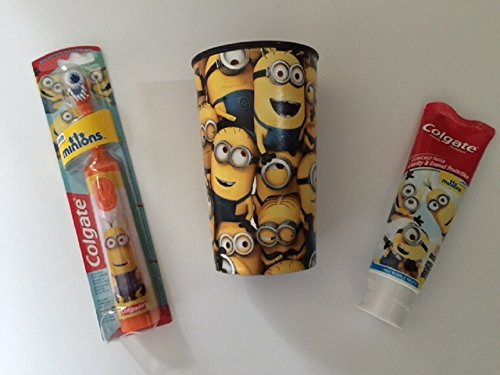 Minions Toothpaste Bundle Kevin Bob Stuart Powered Toothbrush Childrens Cup Dental Brush Kids Colgate Cavity Fighting Flouride (Orange Kevin)