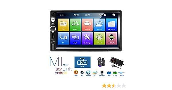 Podofo Radio est/éreo para Coche con Bluetooth y c/ámara de Marcha atr/ás Pantalla t/áctil Digital LCD de 7 Pulgadas DVR Compatible con MP3//USB//TF//AM//FM//control de Volante//Enlace de Espejo