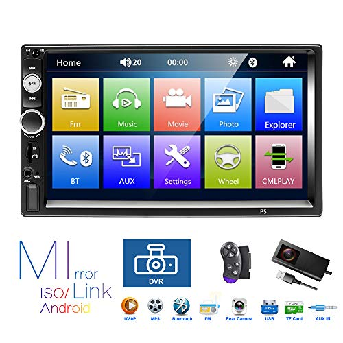 (Podofo Double Din Car Stereo Bluetooth Car Radio with Reversing Camera DVR 7
