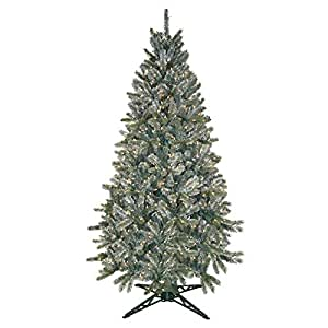 General Foam Pre-Lit Frosted Pine Tree, 6.5-Feet, 550 Clear Lights