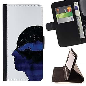 BullDog Case - FOR/Samsung Galaxy Core Prime / - / profile portrait head universe thoughts symbolic art /- Monedero de cuero de la PU Llevar cubierta de la caja con el ID Credit Card Slots Flip funda de cuer