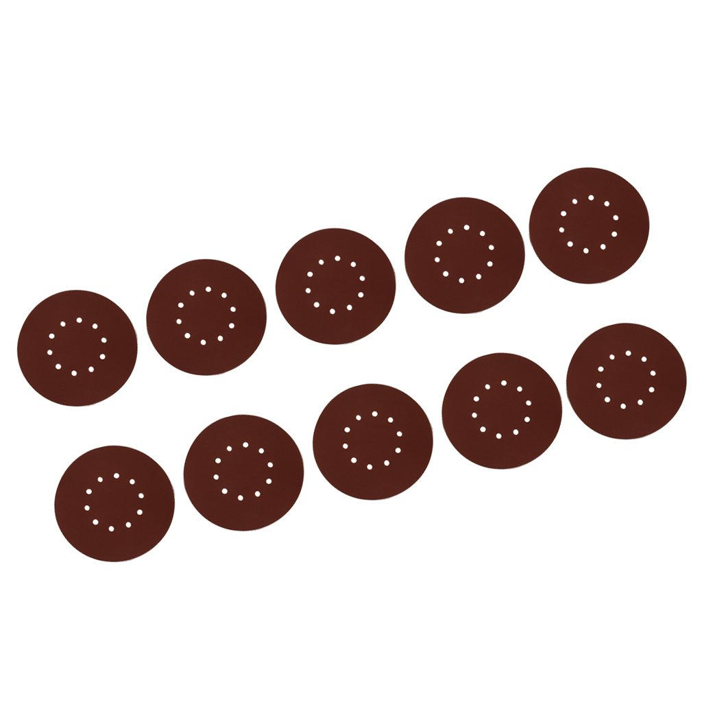 Flameer 10pcs Sand Paper Flocking Discs For Metal Wood And Glass Polishing Grinding Tools - 80#
