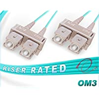 FiberCablesDirect - 150M OM3 SC SC Fiber Patch Cable   10Gb Duplex 50/125 SC to SC Multimode Jumper 150 Meter (492.12ft)   Length Options: 0.5M-300M   ofnr sc-sc dup mmf 10gbase sfp+ sr aqua zip-cord