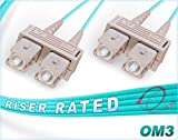 FiberCablesDirect 100M OM3 SC SC Fiber Patch Cable | 10Gb Duplex 50/125 SC to SC Multimode Jumper 100 Meter (328ft) | Length Options: 0.5M-300M ofnr sc-sc patchcord mmf dx sc/sc aqua zip-cord