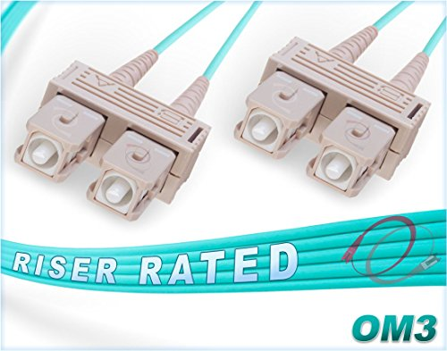 Multimode Duplex Ceramic - FiberCablesDirect - 10M OM3 SC SC Fiber Patch Cable | 10Gb Duplex 50/125 SC to SC Multimode Jumper 10 Meter (32.8ft) | Length Options: 0.5M-300M | ofnr sc-sc dplx mmf 10gbase sfp+ sr Aqua Zip-Cord