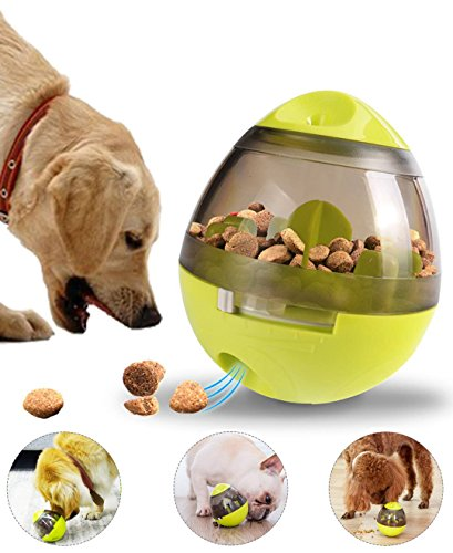 Dog Toy Treat Ball Feeder - Interactive Food Dispenser Ball Toy for Small Medium Large Dogs Boredom Puzzle Toys Mental Stimulation Pets Treat-dispensing Ball (Green)