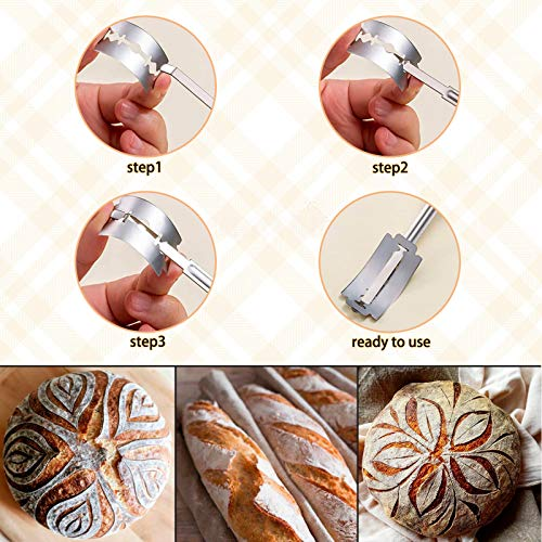 tetotak Bread Scoring Knife With 10 Razor Blades + Leather Protective Cover,Nature Wooden Handle,Bread Lame Slashing Tool,Bread Scoring Tool Lame Bread Tool