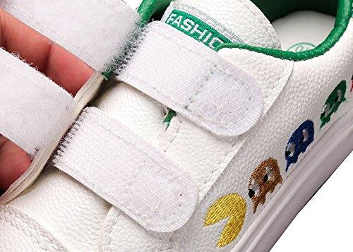 VECJUNIA Mädchen Jungen Mode Karton Dekoration Klettverschluss Leder Turnschuhe Kinder Sportschuhe Grün
