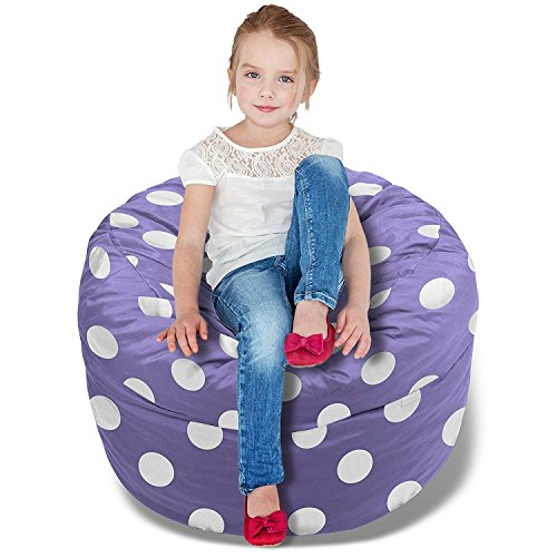Purple Kids Bag - BeanBob Bean Bag Chair (Purple w/Polka Dots), 2.5ft - Bedroom Sitting Sack for Kids w/Super Soft Foam Filling