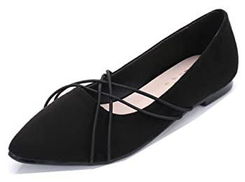 Women's Casual Pointy Toe Low Cut Driving Cars Faux Suede Slip On Flats Shoes