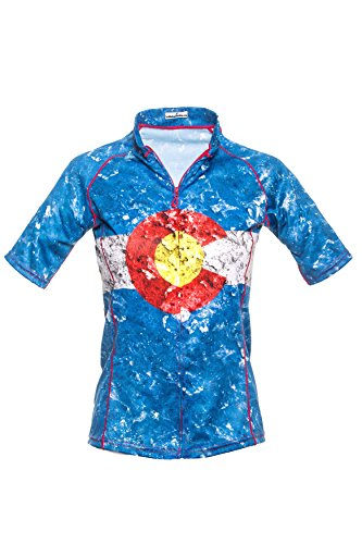 Bold Babe Women's Sun Protective Short Sleeve Cycling Jersey - SPF Clothing Perfect for Enjoying The Outdoors - Colorado Flag (Large)