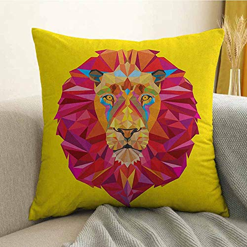 (Zoo Bedding Soft Pillowcase Colorful African Animals Geometric Diamond Face Lions Mane Safari Wildlife Theme Image Hypoallergenic Pillowcase W16 x L16 Inch Multicolor)