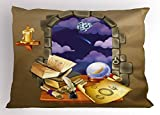 Ambesonne Astrology Pillow Sham, Medieval Ancient Castle Window with Crystal Ball Clouds Parchment, Decorative Standard Size Printed Pillowcase, 26 X 20 inches, Teal Grey White and Purple
