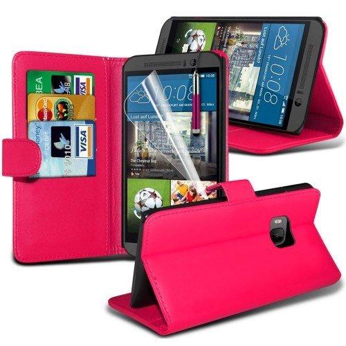 HTC One M9 Cubierta del caso con cuero (Rosa caliente) Plus de regalo libre, Protector de pantalla y un lápiz óptico, Solicitar ahora mejor caja del teléfono Valorado en Amazon! By FinestPhoneCases