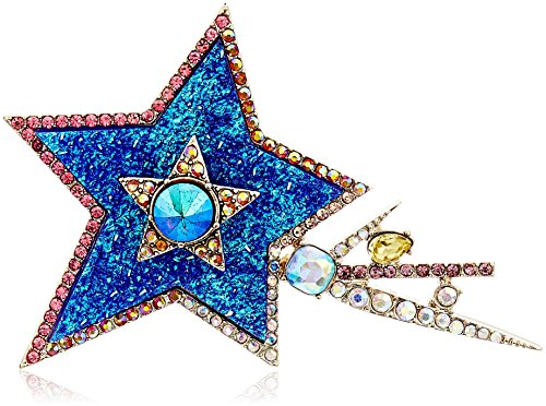 Betsey Johnson Blue Druzy Shooting Star Brooch and Pin
