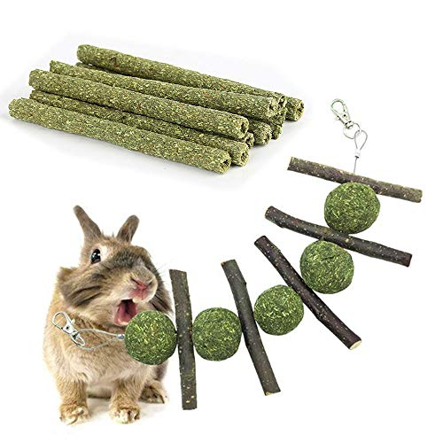 PIVBY Natural Timothy Grass Molar Rod Apple Wood Sticks Bunny Snacks Chew Toys with Grass Ball for Rabbits, Chinchillas, Hamsters, Guinea Pigs Chewing/Playing ()