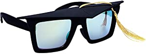 Sun-Staches Grad Tassle Cap Shades Graduation Celebration Grad Night Costume Party Favor Sunglasses UV400 Black