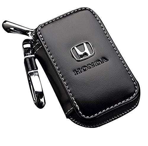Qzs Black Leather Car Key Case Coin Holder Zipper Remote Wallet Key Chain Bag  Honda