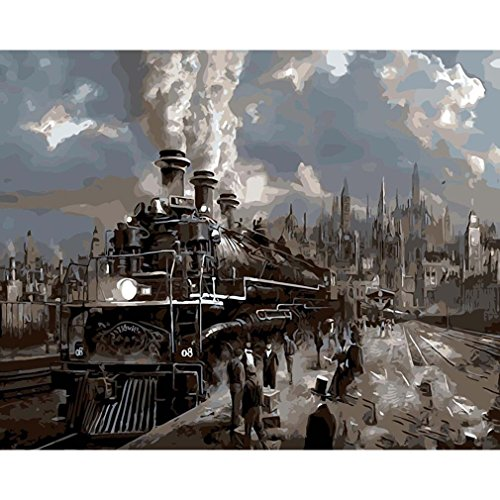 RainBabe Handmade Digital Train Station Oil Painting DIY Paint By Number Kit for Drawing Beginner