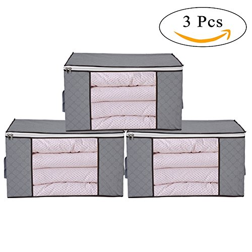Large Foldable Box (Thick Clothing Organizer Bags, 3 Piece Bamboo Charcoal Foldable Storage Zipper Bag Large Durable Closet Storage Boxes Case Container for Dresses Quilt Season Items Storage, Gray)