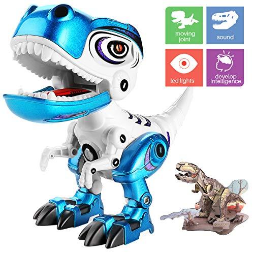 Geyiie Kids Dinosaur Set Toys, Tyrannosaurus rex flexible con dinosaurio 3D Puzzle, mini juguete educativo, aleación de metal, luces y sonidos, azul