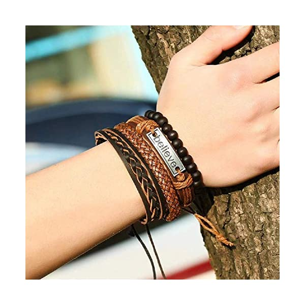 Yellow Chimes Combo Leather Wraps Casual Latest Trend Multi Strand Wrist Bracelets for Men and Women (Unisex)