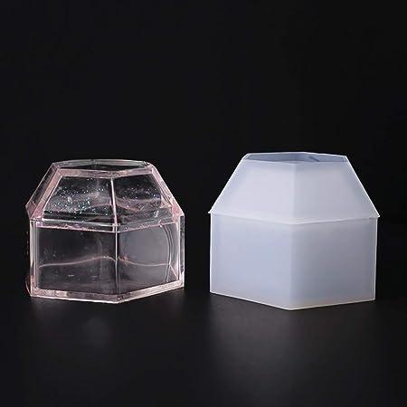 FineInno Moldes De Resina Caja de Almacenamiento de Fundición de Silicona Molde Hexagon Moldeado De Artesanía Joyería Molde DIY Craft hacer (Molde de caja de resina): Amazon.es: Hogar