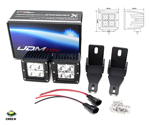 iJDMTOY Complete 40W High Power CREE LED Fog Light Kit w/ Fog Lamp Location Mounting Brackets For 1999-2016 Ford F-250 F-350 F-450 Super Duty by iJDMTOY (Image #2)