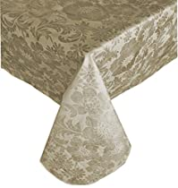 "Queen Anne Damask Print Indoor/Outdoor Flannel Backed Vinyl Tablecloth, 52"" x 70"" Oblong, Ecru"
