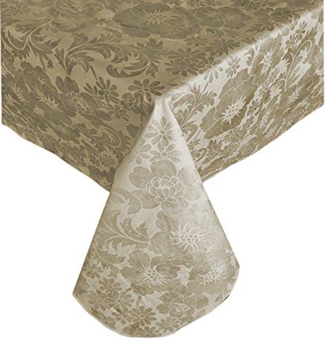 "Queen Anne Damask Print Indoor/Outdoor Flannel Backed Vinyl Tablecloth, 60"" x 84"" Oblong, Ecru"