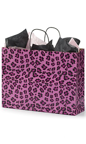 "Large Pink Leopard Print Paper Shopping Bag,• 16"" X 6"" X 12"" (Vogue) • Premium Design • Natural Interior Color • Case of 100.leopard Pink Shopping Bags Are an Ideal Choice for Those Who Want to Take a Walk on the Wild Side! A Stylish Packagi by STORE001"