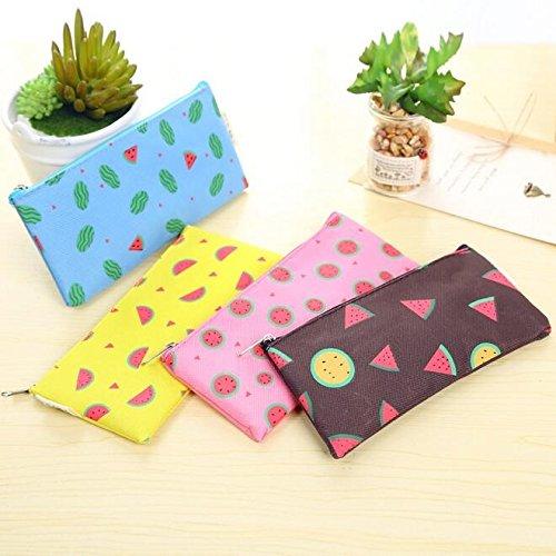 Kawaii Fresh Fruit Watermelon Series Oxford Cloth Zipper Pencil Bag DIY Stationery Bag Office School Supplies
