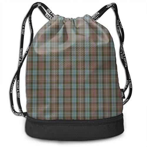 YyTiin Fraser Hunting Weathered Tartan Men Women Waterproof Drawstring Backpack Sports Dance Storage Bags Sackpack Gym Traveling Outdoor