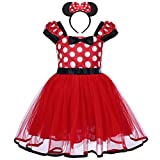 IBTOM CASTLE Toddlers Girls' Polka Dots Christmas Birthday Princess Leotard Costume Tutu Dress up Mouse Ears Headband Red+ 3D Ears 4-5 Years