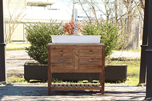 "36"" Reclaimed Wood Bath Vanity Cabinet Vessel Sink Apothecary Chest Single Bath Console Package (Grande Bathroom Sink)"