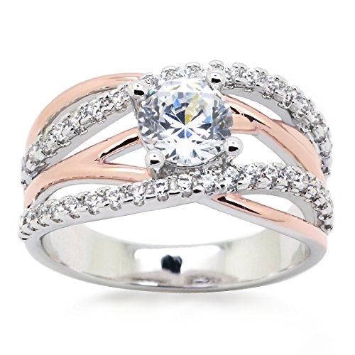 Sparkly Bride CZ Statement Ring Criss Cross Crossover Rose Gold Plated