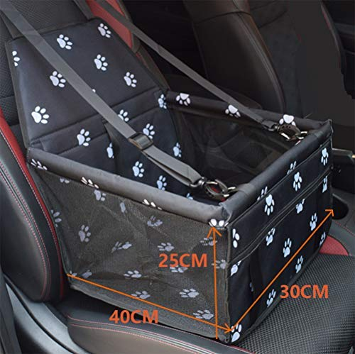 Aplus Car Seat Cover for Dogs Improved Version /– Anti-Collapse Waterproof Car Seat Cover for Pets Dog Hammock Waterproof Non-Slip Dog Hammock Black with Paw Prints